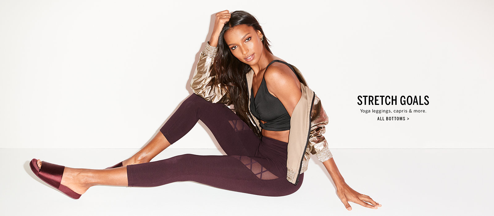 bc3a3ad6381b85 Yoga leggings, capris and more. Click to Shop All bottoms