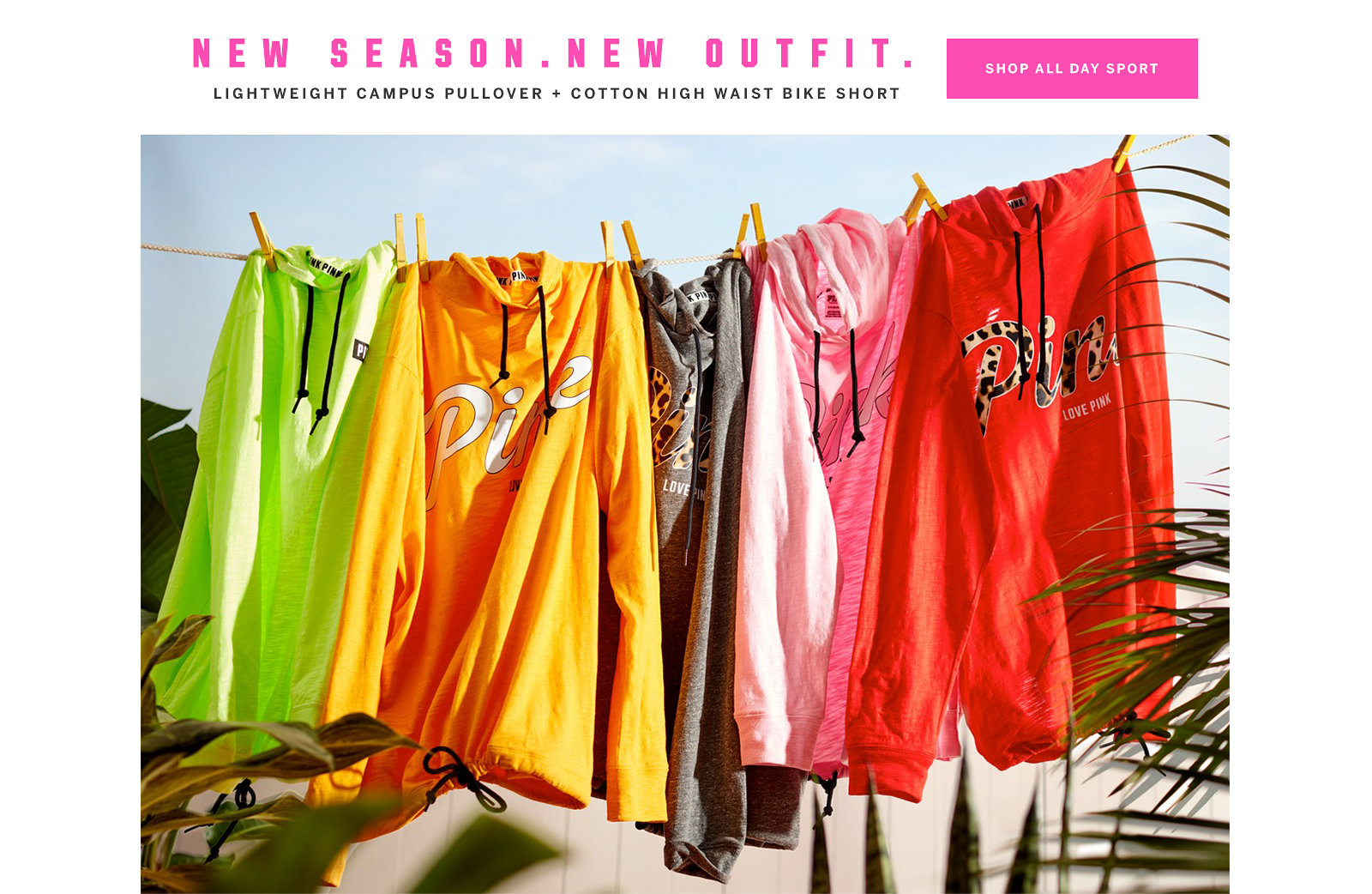95d06b23690 New Season. New Outfit. Lightweight Campus Pullover + Cotton High Waist  Bike Short.