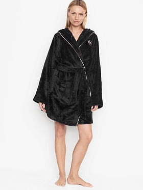 Details about  /Victoria/'s Secret Black Night Robe Tie in Front ONE SIZE NWT