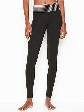 Victoria's Secret Anytime Cotton Foldover Legging,Black/Rose Tan Simple Stripe 4QOS