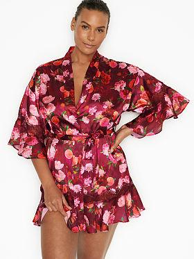 Victoria/'s Secret Black Satin Komo Robe One Size Lingerie Valentine Gift