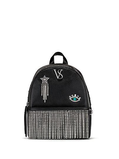 Victoria's Secret, Victoria's Secret VS Laser Cut Small City Backpack, Black/Silver, featured, 1 of 5