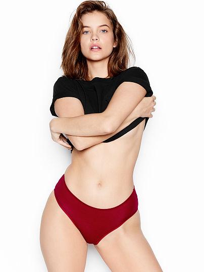 Victoria's Secret, Victoria's Secret Stretch Cotton Lace Ruched-back Hiphugger Panty, Red Lacquer,