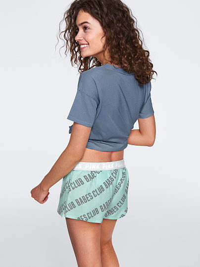 PINK Sleep Boxer Short, Mint Frosting Babes Club,