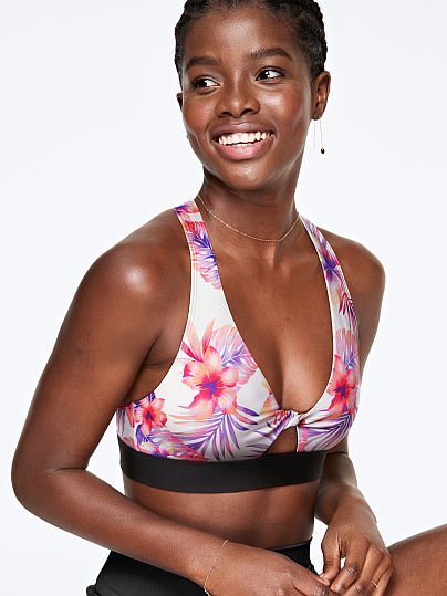 PINK Twist Front Lightly Lined Sports Bra  , Triumph White Floral Fun,