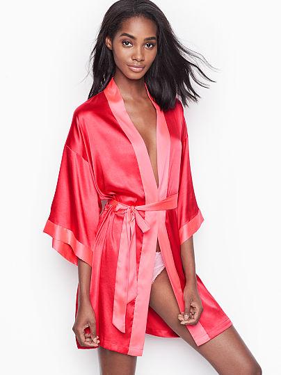 745d38ce62a Victoria s Secret Victoria s Secret Short Satin Kimono on Model Front ...