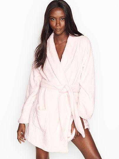 Victoria's Secret, Victoria's Secret Logo Short Cozy Robe, Mauve Chalk,