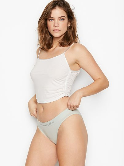 Victoria's Secret, Victoria's Secret Seamless Bikini Panty, Pale Sky Grey,
