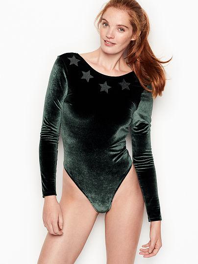 Victoria's Secret, Victoria Sport Glitter Bodysuit, Dark Green,