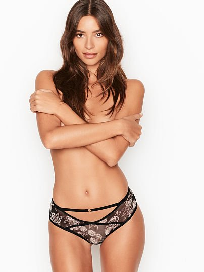 Victoria's Secret, Very Sexy Ring Mesh Cheeky Panty, Black Peaceful Rose,