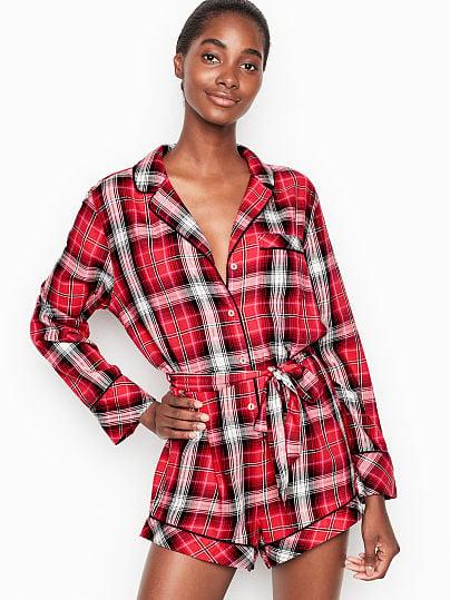 Victoria's Secret, Victoria's Secret Flannel Tie Romper, Bright Cherry Plaid,