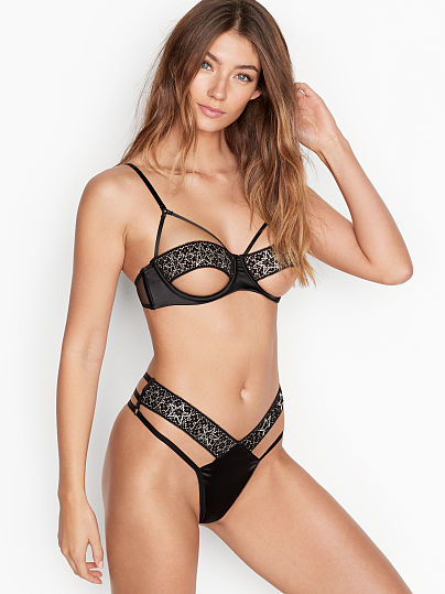 Victoria's Secret, Luxe Lingerie Strappy Star Embellishment Bra, Black Embellished,