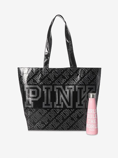 PINK  S'well Water Bottle and Reusable Tote Bag, Chalk Rose,