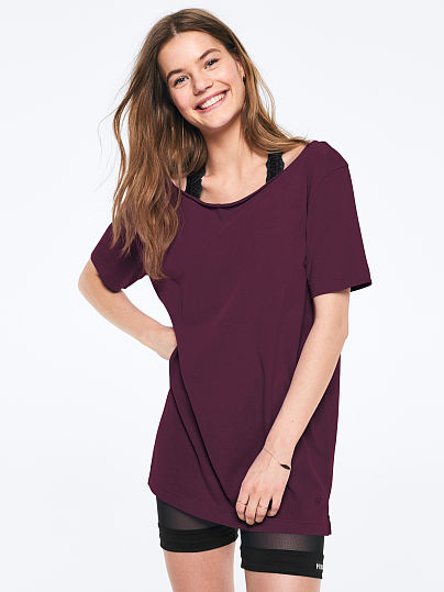 PINK Off-The-Shoulder Campus Tee, Luscious Plum, featured, 1 of 3