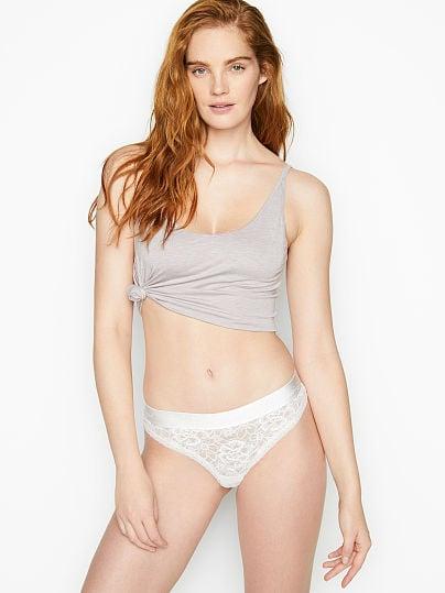 Victoria's Secret, The Lacie Lace-up Thong Panty, VS White,