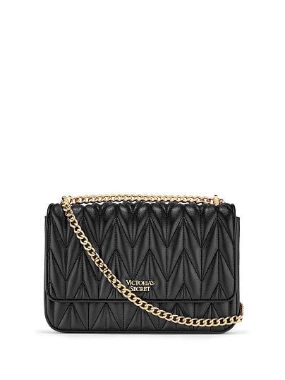 Victoria's Secret, Victoria's Secret Chevron Quilt Bond Street Shoulder Bag, Black/Gold, featured, 1 of 5