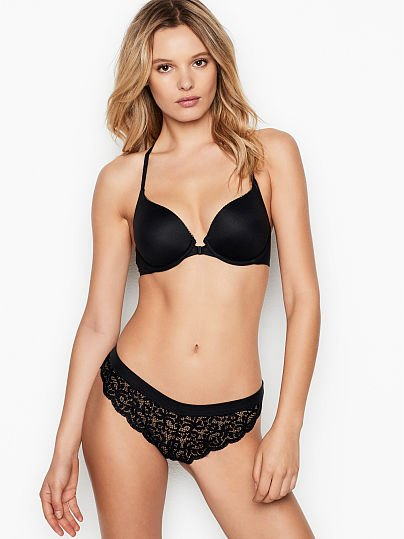 VICTORIA/'S SECRET BLACK ATHENA LACE BODY BY VICTORIA LINED FULL COVERAGE BRA VS
