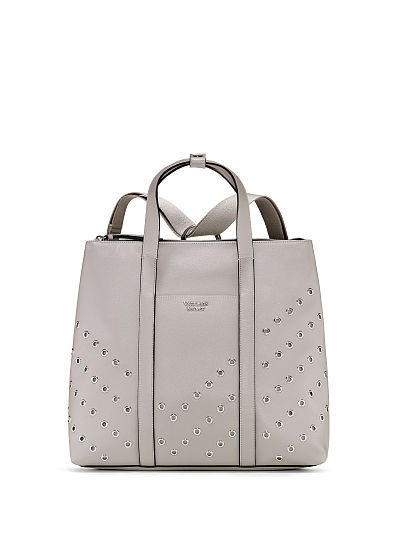 Victoria's Secret, Victoria's Secret Grommet Convertible Backpack, Gray/Silver, featured, 1 of 5