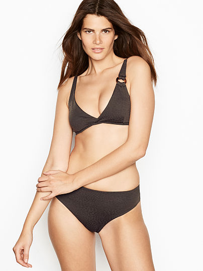 7f22ac24743 Victoria's Secret, onia Crossover Triangle Top, Black, onModelFront, ...