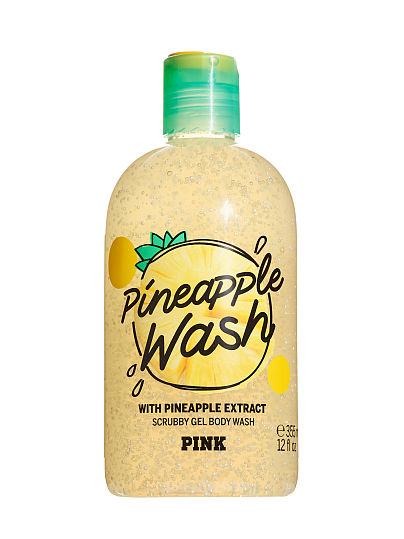 PINK Pineapple Wash Scrubby Gel Body Wash with Pineapple Extract, Pineapple,