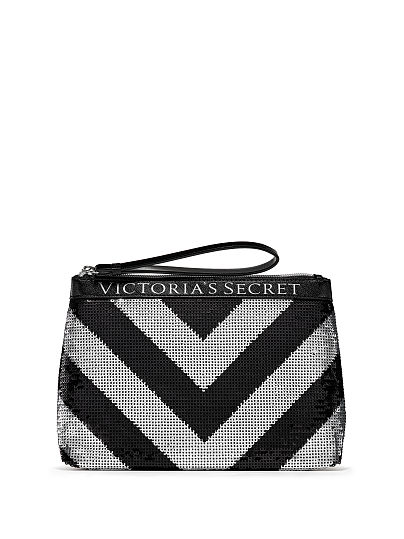 Victoria's Secret, Victoria's Secret Sparkle Clutch, Silver/Black, offModelFront, 1 of 1