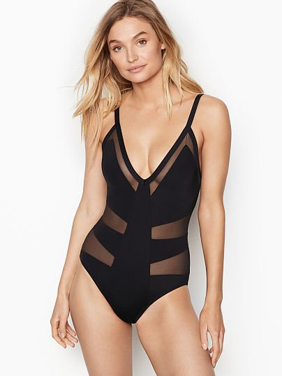 4fcc438d05 Kenneth Cole Mesh V-plunge One-piece, Black, onModelFront, 1 of