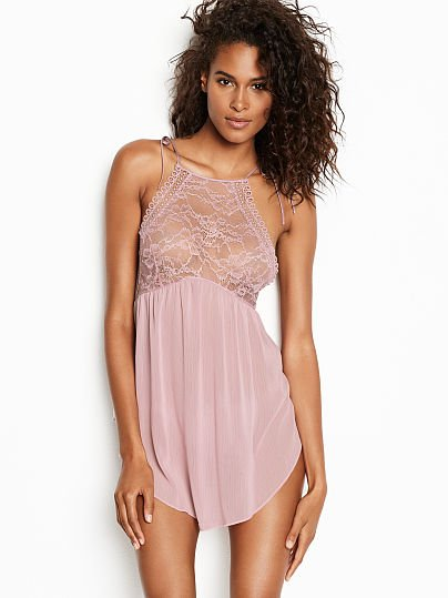 9b8ff846b6c Victoria s Secret Very Sexy Lace High-neck Babydoll Violet Pearl on Model  Front 1 of