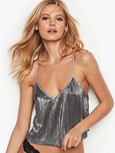 4e582a4f32 Victoria s Secret Victoria s Secret Shine Pleat Crop Cami Pure Black on  Model Front ...