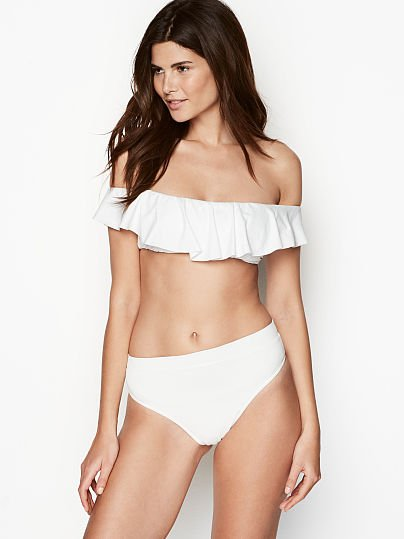 68ea53c27acc8 Victoria's Secret, Banana Moon Off-the-shoulder Ruffle Bandeau, White,  onModelFront
