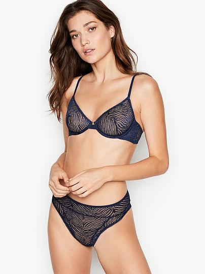 Victoria's Secret, Luxe Lingerie Zebra Lace Demi Bra, Ensign Blue, featured, 1 of 2