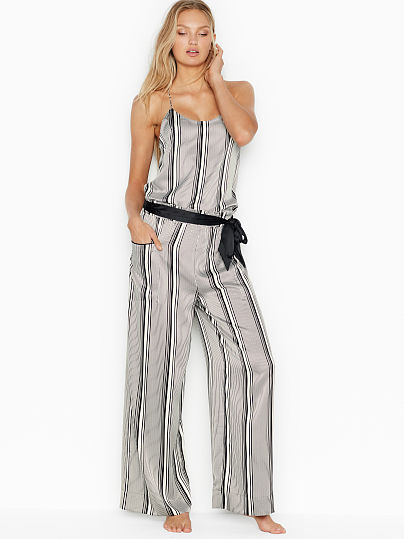 Victoria's Secret, Victoria's Secret new Satin Wide-Leg PJ Pant, Coconut White/Black Stripe, onModelFront, 1 of 2