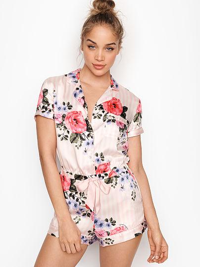 Victoria's Secret, Victoria's Secret Satin Button-front Romper, Pink Floral,