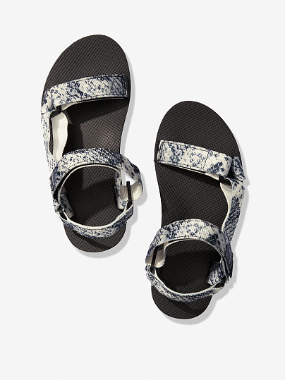 PINK Festival Sandal, Grey and Black Snake Print, offModelFront, 1 of 3