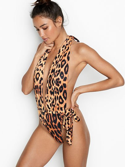 96850bc82ae58 Victoria's Secret, We Are HAH Open Back High-leg One-piece, Leopard