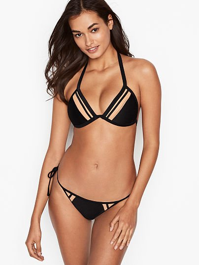 3d36e1793b07dc Victoria s Secret Body Glove new Side Tie Hipster Bottom Black on Model  Front 1 of 3
