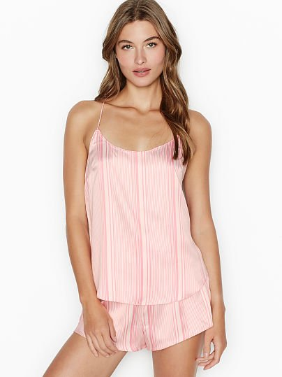 Victoria's Secret, Victoria's Secret new Ruched-waist Satin Sleep Short, Coconut White/Pink Stripe, onModelFront, 1 of 3