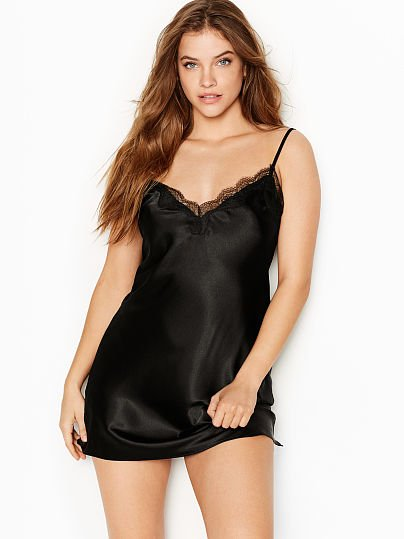 0928984823d Victoria s Secret Victoria s Secret Satin   Lace Slip Black on Model ...
