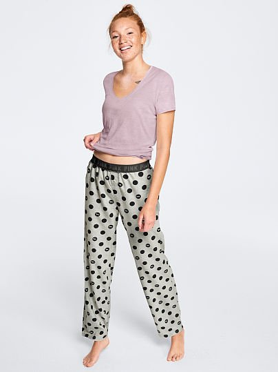 PINK Sleep Pant, Classic Stormy with Black Dots,