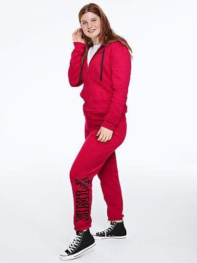 PINK Everyday Lounge Classic Pant, Red Pepper Classic Logo,