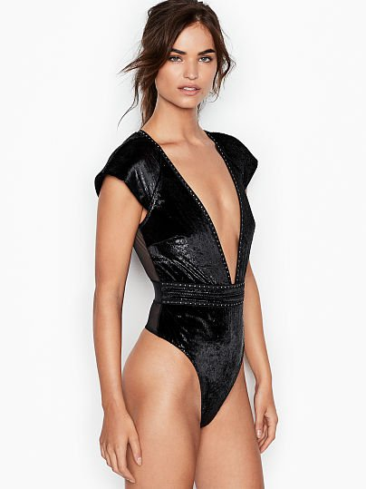 fa1b55ad84 Victoria s Secret Very Sexy Shine Velvet Plunge Teddy Black on Model Front  1 ...