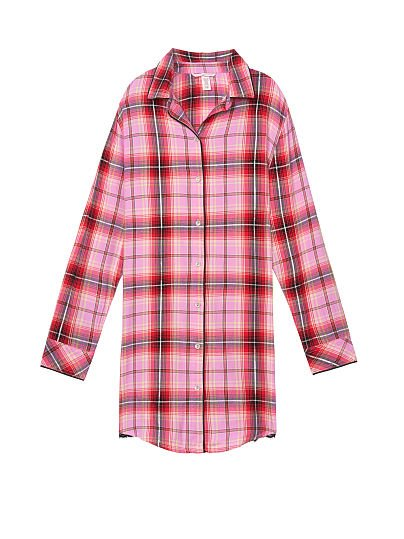 Victoria's Secret, Victoria's Secret Button-front Flannel Sleep Top, Berry Frost Plaid, offModelFront, 1 of 1