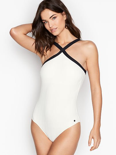 8524bb28efc3 Victoria's Secret, Jette Cross Strap Halter One-piece, White, onModelFront,  1
