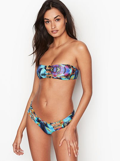 1e54573110347 Miss Bikini Luxe Strappy Cutout Hipster, Blue Kaleidoscope, onModelFront, 1  of 3