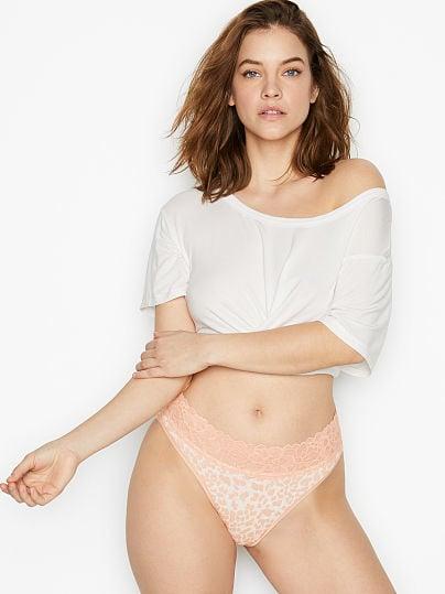 Victoria's Secret, Victoria's Secret Stretch Cotton Lace-waist High-leg Brief Panty, White/Cameo Leopard,