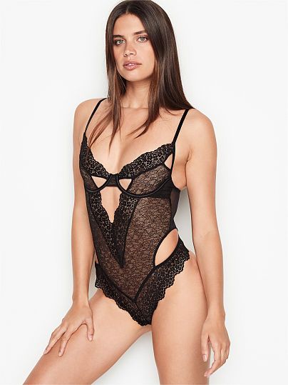Victoria's Secret, Very Sexy Floral Embroidered Cutout Teddy, Black,