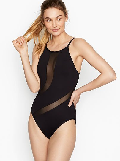 5e648b0e73808 Victoria's Secret, La Blanca High-neck Mesh Insert One-piece, Black,