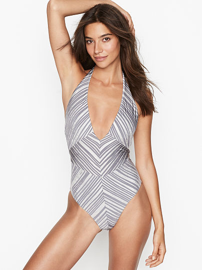 59aadc744d BCBGMAXAZRIA new V-plunge Halter One-piece, Striped Silver, onModelFront, 1