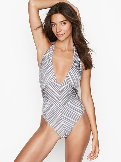 8180b402a3b5d BCBGMAXAZRIA new V-plunge Halter One-piece, Striped Silver, onModelFront, 1
