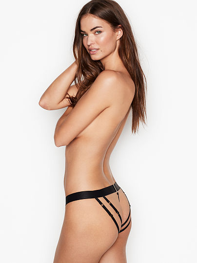 Victoria's Secret, Very Sexy Link Hardware Brazilian Panty, Black, featured, 1 of 4