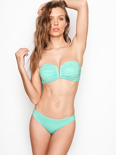 04f63a073db Victoria s Secret new Ruched V-front Bandeau Sea Mist on Model Front 1 ...